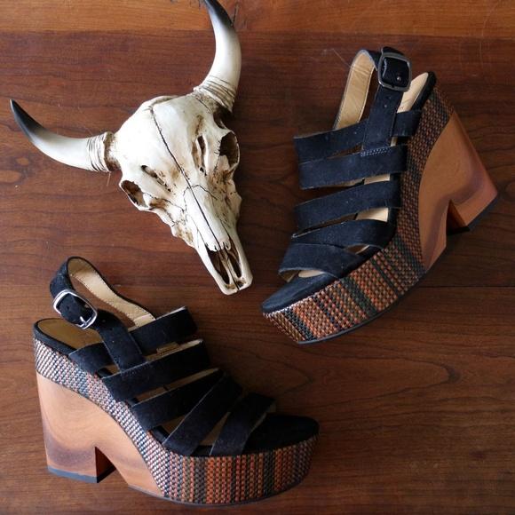 ecb693fd1f5 Franco Sarto // Platform Wood Block Heel Sandal